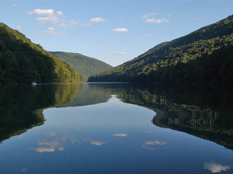 calm water at Cheat Lake Backwaters